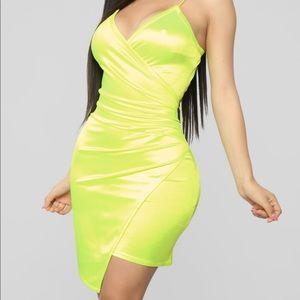 Gorgeous neon yellow dress.